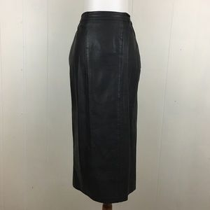 Vintage Leather Straight Pencil Midi Skirt